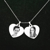 Personalized Stainless Steel Name Pendant Necklace Heart Love Engrave Photo Name Necklace For Family Gift