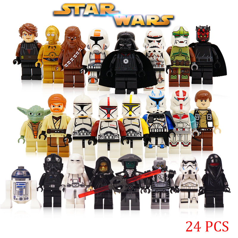 24pcs/lot Building Block LegoINGlys Starwars Jedi Yoda Obi-Wan Figures Darth Storm Han Solo Anakin Kids Star Wars Toy24pcs/lot Building Block LegoINGlys Starwars Jedi Yoda Obi-Wan Figures Darth Storm Han Solo Anakin Kids Star Wars Toy