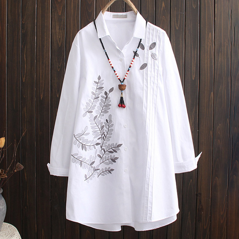 Cotton Embroidery White Women Long Shirt Tops Print Long Sleeve Loose Plus Size Female Shirts 2020 Spring Autumn Blouse Top