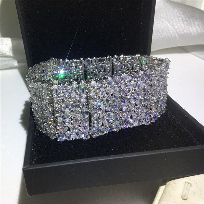 Роскошные браслеты choucong, белое золото, заполненный Mutil AAAAA cz, серебряный цвет, вечерние, свадебный браслет для женщин, свадебный подарок, шири... - 5