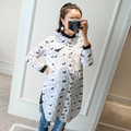 Hot sale Maternity Dress summer hollow out design high sleeve long Vintage dress coat loose shirt dress 8A222