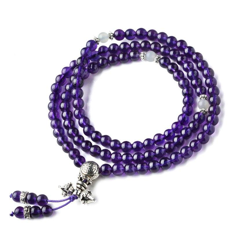 Amethyst Bracelet for Female and Male Violet Dark Amethyst 108 Bead Bracelets for Couple JewelryAmethyst Bracelet for Female and Male Violet Dark Amethyst 108 Bead Bracelets for Couple Jewelry