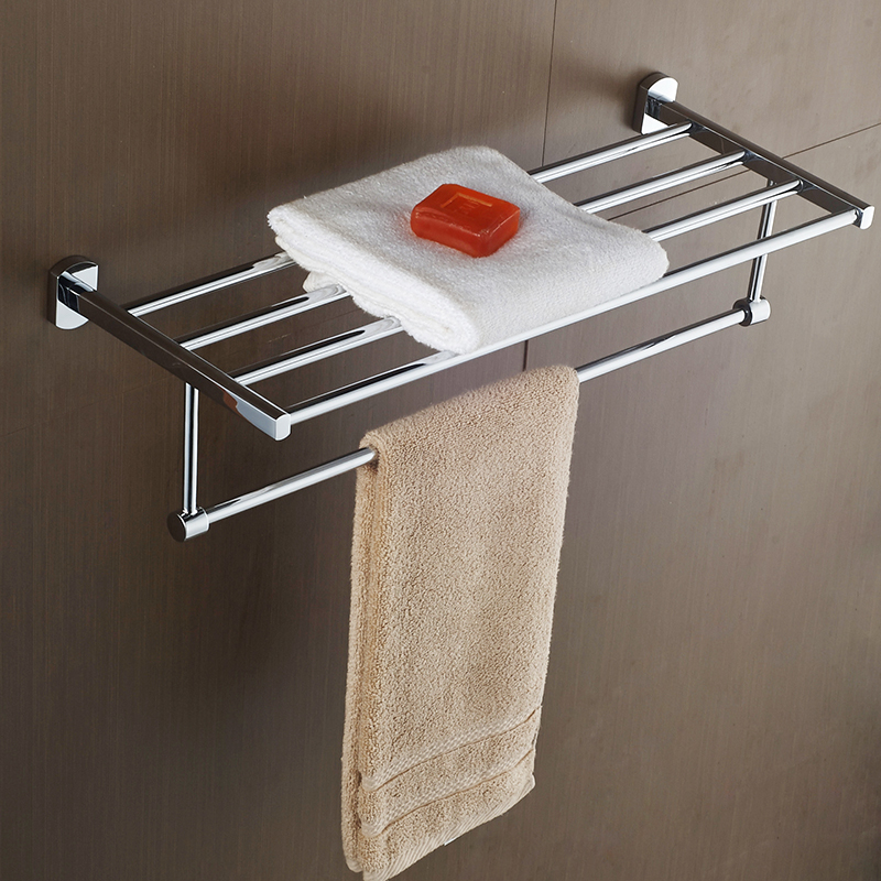 AUSWIND Modern 304 Stainless steel silver polish bath towel rack bathroom shelf 2 layer wall mount bathroom products 304 stainless steel bathroom towel rack bar hangers more