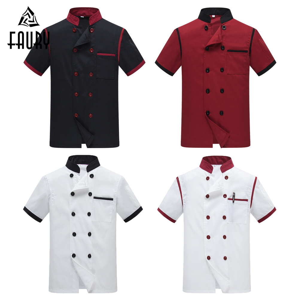 Men's High Quality Mesh Patchwork Restaurant Kitchen Chef Cooking Coat Coffee Shop Waiter Work Uniforms Short Sleeve Tops Apron