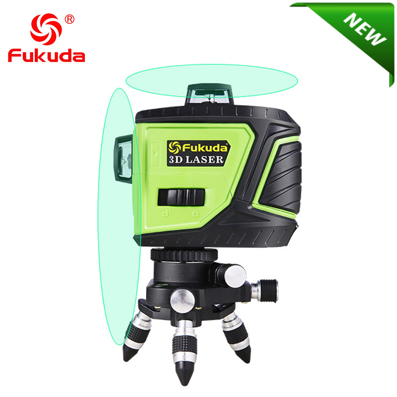 Fukuda бренд 8 линий 3D MW-93T-2GX лазерный уровень самонивелирующийся 360 горизонтальный вертикальный крест супер мощный зеленый лазерный луч OSRAM