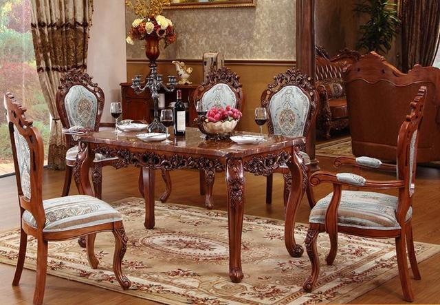 Elegant Dining Table, Marble Table, High Grade Solid Wood Carving  Rectangular Dining Table Furniture
