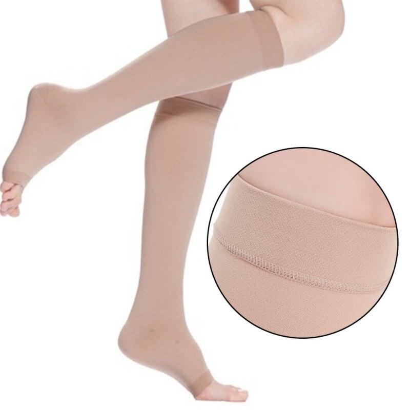 Lelaki Wanita Tetap Stoking Kaki Terbuka Kompresi Paha Lutut Sokongan Tinggi 18-21 mm Hg Stoking Medias Muslo