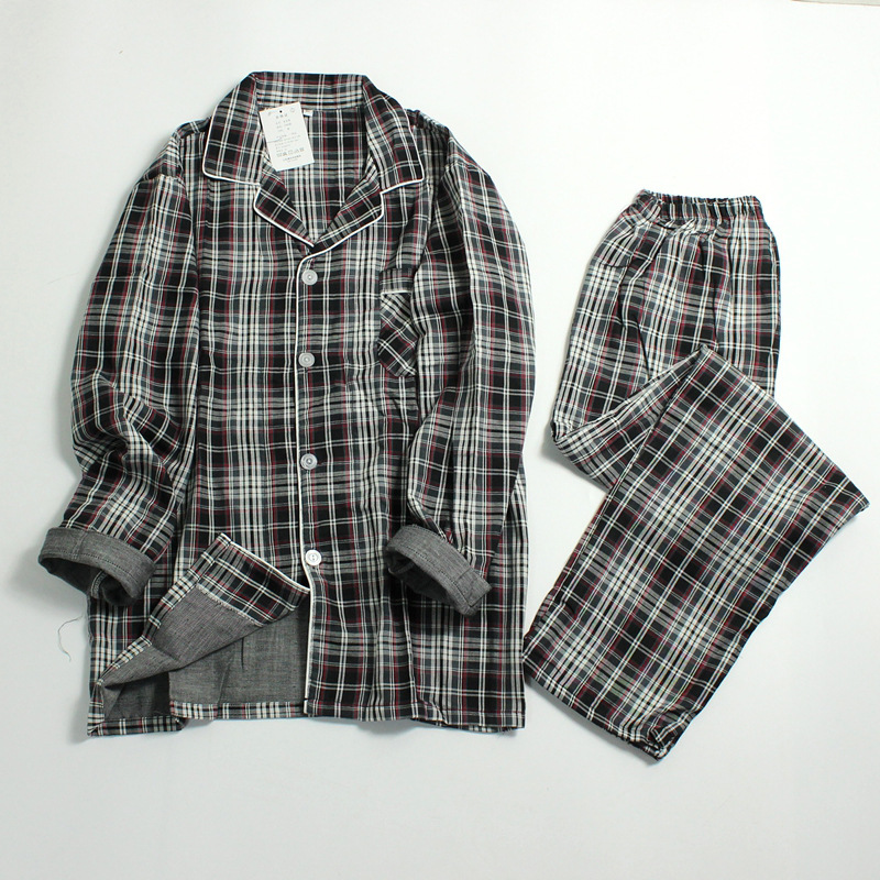 Spring And Summer New Men's Cotton Plaid Pajamas Long Sleeve Men Sleepwear Plus Size Pyjama Leisure Nightwear Sleeping Suits