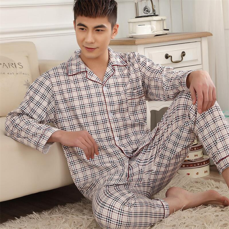 Men Pajama Sets Pants 3XL Cotton Spring Autumn Male Sleepwear Long-Sleeve Striped Lounge wear Sleep Set Pants Shirts Plus Size(China)