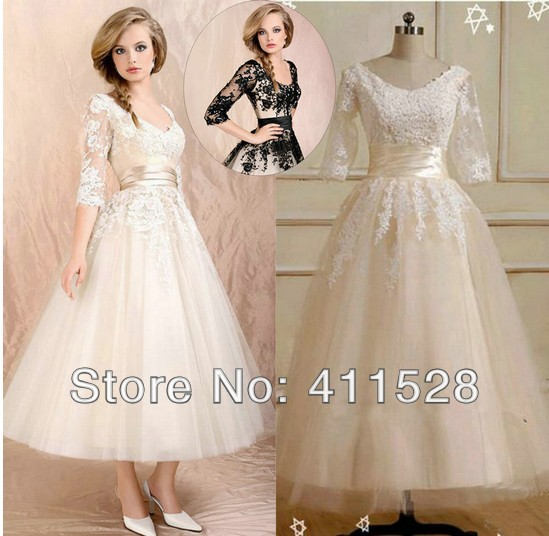 2015 casamento vestidos de noiva wedding dress half sleeve for Black tea length wedding dress