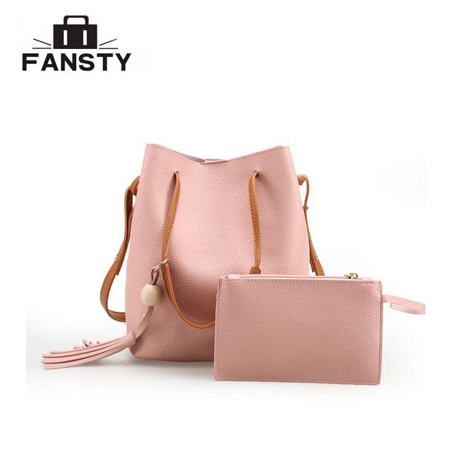 facfaca375 2017 New Winter Women Handbags and Purse Shoulder Bag Messenger Bag Large  Tassel PU Bucket Bag Set for Young Female Ladies