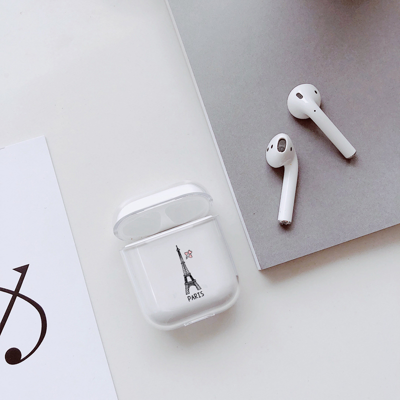 Love tower Covers For Airpods Case Transparent Wireless Earphone Charging Case for Apple AirPods 1 2 Hard PC Protective Cover in Earphone Accessories from Consumer Electronics