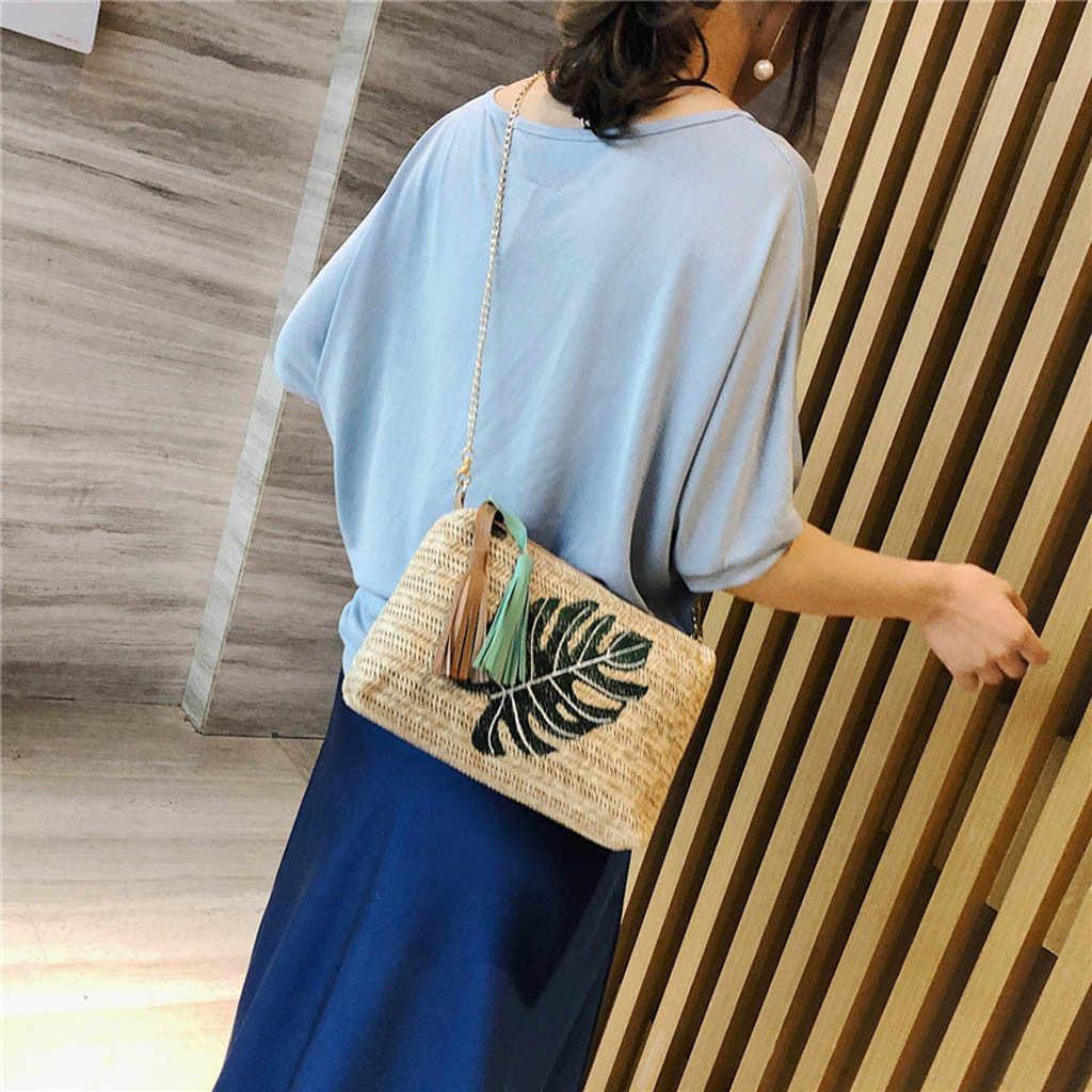 Torebki Crossbody dla kobiet 2019 damskie Tassel liście ananasa tkana torba kurierska z dzikim motywem torba na ramię sac główna femme luksusowa torebka