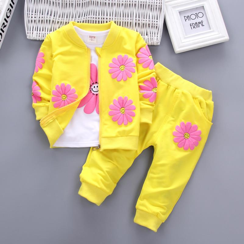 2021 Real Roupas Infantis Children's Garment Spring And Autumn New Girl Pure Cotton Printing Three-piece Child Suit 0-4y 2