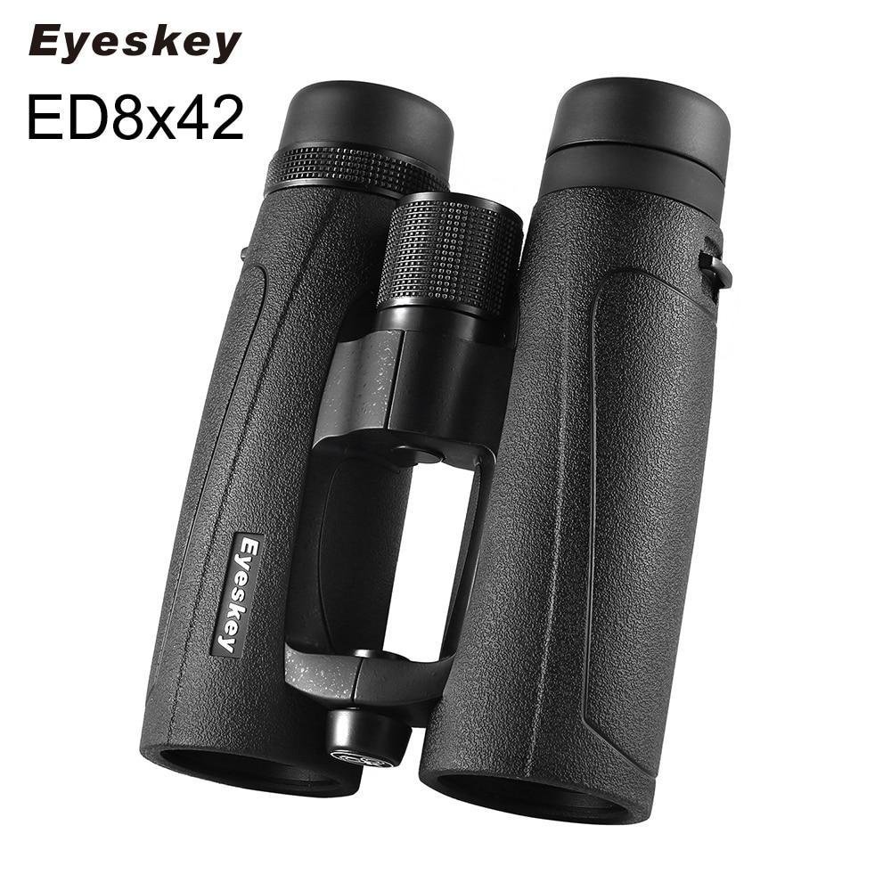 ED Glass 8X42 Eyeskey Black Waterproof Binoculars Bak4 Prism Optics Camping Hunting Powerful Binocular free shipping 2015 new 8x42 waterproof bak4 roof prism binoculars 118m 1000m long range high end binoculars hot sale