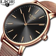 LIGE Women Fashion Rose Gold Quartz Watch Lady Mesh Belt Watchband High Quality Casual Waterproof Wristwatch Reloigo Feminino цена 2017