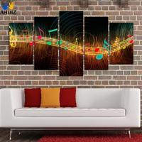 Unframed Schilderen op Canvas Abstract Muzieknotatie Pictures Home Decor 5 Panel Wall Schilderijen Unframed Groothandel