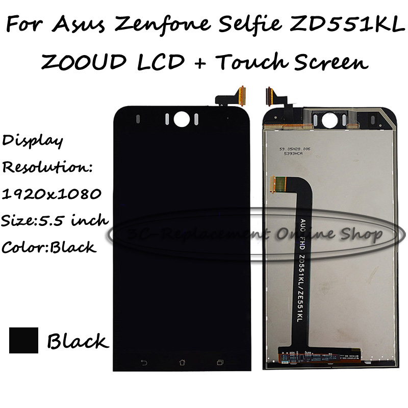 Black Full 5.5 inch LCD DIsplay + Touch Screen Digitizer Assembly For Asus Zenfone Selfie ZD551KL Z00UD Free shipping