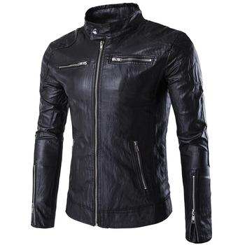 2018 new Mens Autumn Winter Pu Leather Punk Jacket Coat Size M-5XL leather jacket men  mens leather jacket  winter coat men