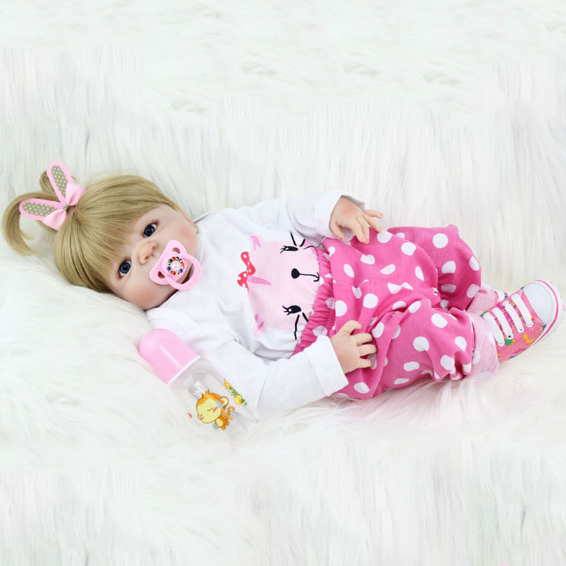 55cm Full Body Silicone Reborn Baby Dolls Toy 22inch Newborn Princess Toddler Babie Alive Doll Cute Girl Brinquedos Bonecas handmade chinese ancient doll tang beauty princess pingyang 1 6 bjd dolls 12 jointed doll toy for girl christmas gift brinquedo