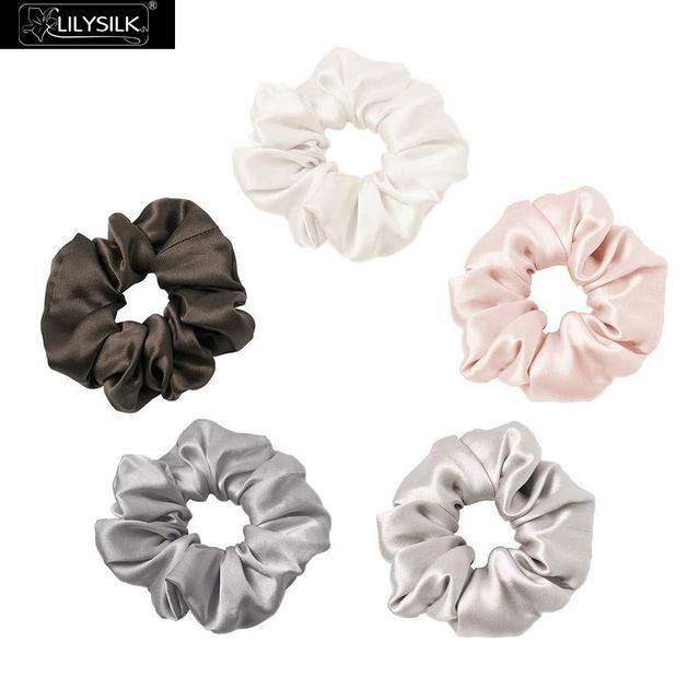 LilySilk 100% Pure Silk Scrunchiesชุด 5 แพ็คCharmeuseหัวผมBandอุปกรณ์เสริมCareหรูหราสีสุ่ม