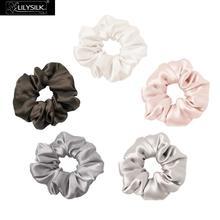 LilySilk Juego de Scrunchies 100% de seda pura, 5 unidades, Charmeuse, accesorios para la cabeza, cuidado suave, Color lujoso al azar