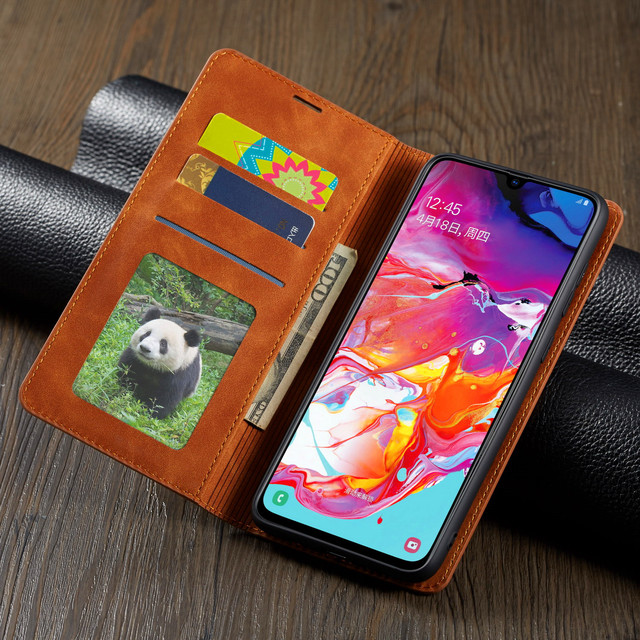 luxury Business Magnetic Phone Case For Samsung Galaxy A20 A30 A40 A50 A60 A70 Case Card slot Flip Stand wallet Cover Coque etui