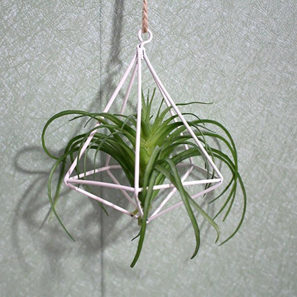 Freestanding Hanging Tillandsia Air Plants Rack Metal Geometric Iron Rustic Flower Planter Pot Plants Rack For Home Garden 2018