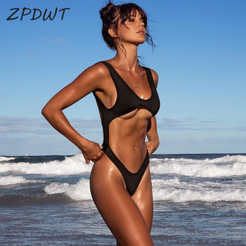 ZPDWT 2020 Black Sexy Monokini Solid One Piece Swim Bathing Suit Backless Swimwear Bodysuit Beachwear Hot Maillot De Bain Femme 5xl patchwork swimwear women 2018 top sexy one piece swimsuit maillot de bain femme bodysuit monokini bathing suit maio zaful