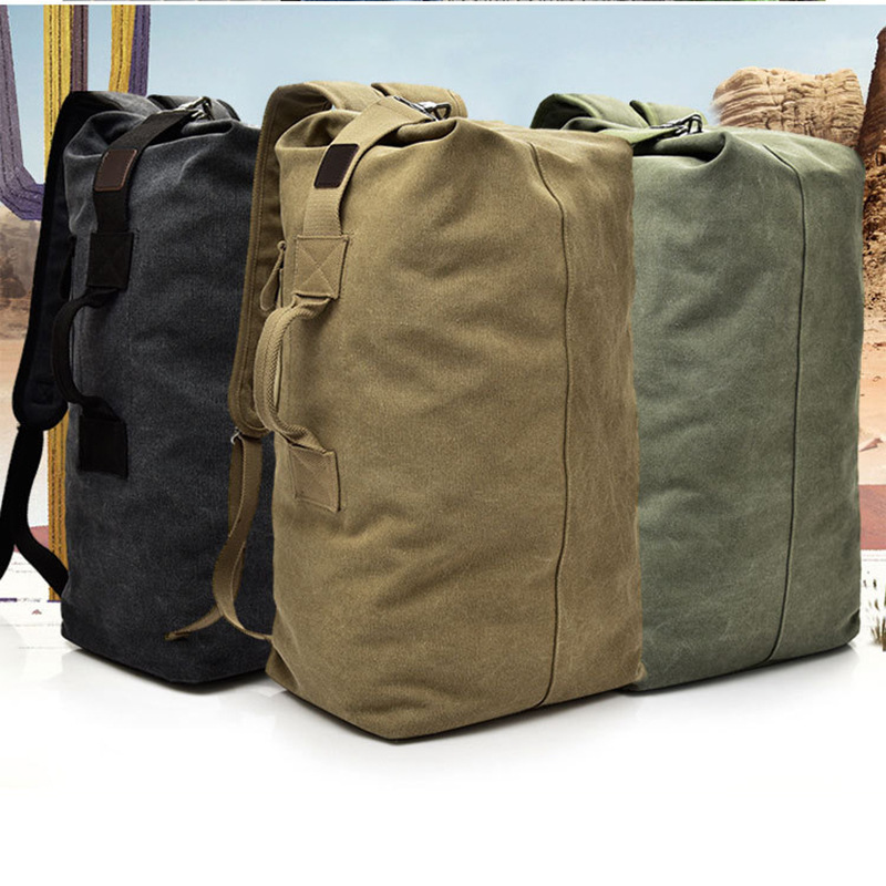 2019High Quality Canvas Travel Duffle Bag Men Military 55cm High Capacity Travel Backpack Handle Luggage Backpack Overnight Bags