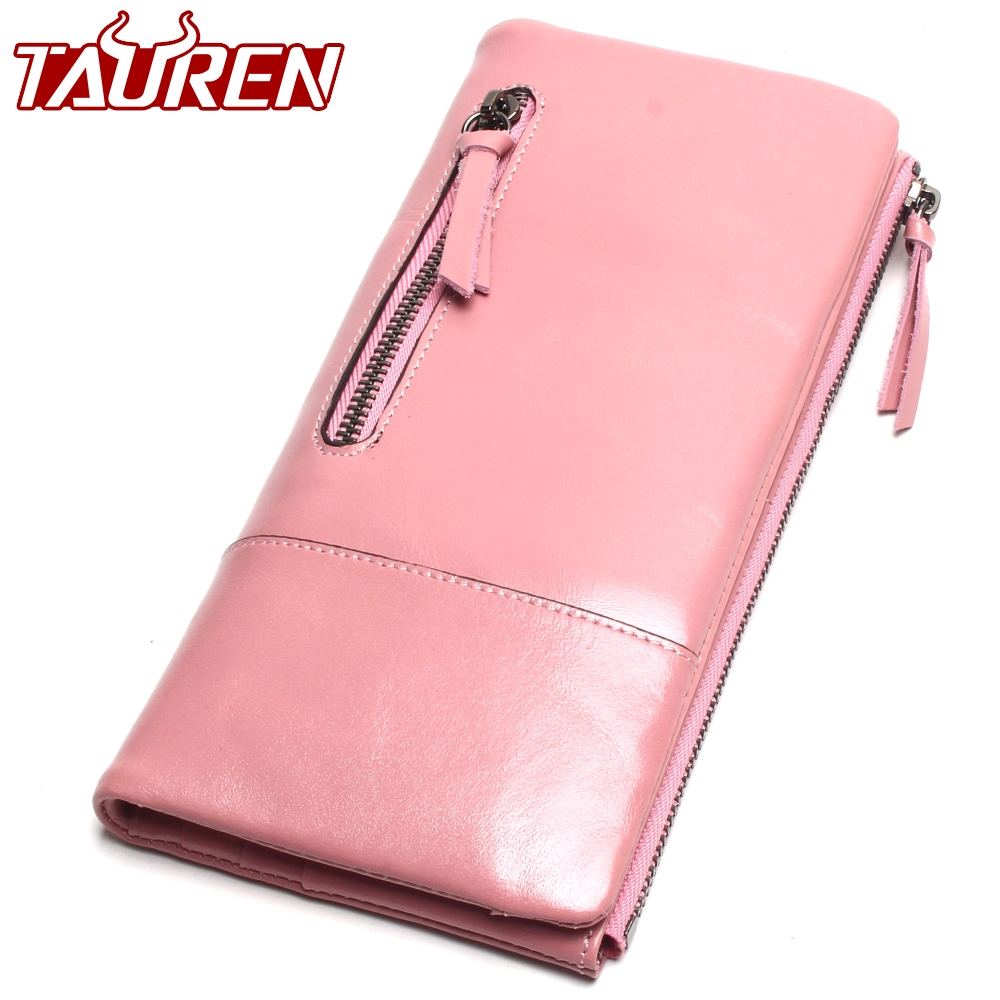 2018 New Women Retro Oil Wax Leather Passport Bag Longer Genuine Leather Cowhide Wallets Female Fashion Coin Purse High Quality first layer cowhide genuine leather oil wax 3 fold wallets clutch vintage fashion ladies purse female famous brand high quality