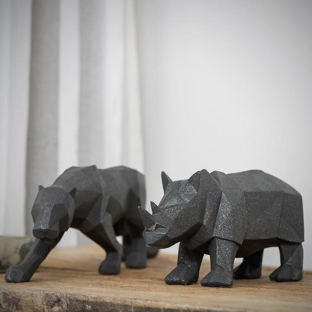 Geometric Rhino/ Leopard Animal Ornaments Resin Ornaments Home ...