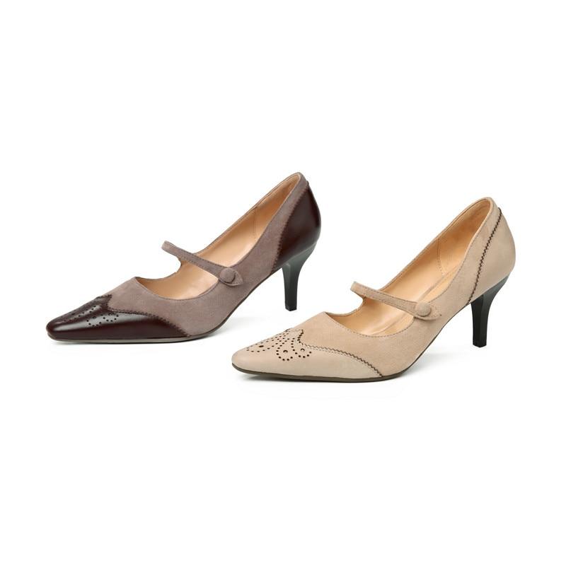 Classique Apricot Bout Masgulahe Peu Offre 2019 Boucle Véritable Chaussures En Femmes brown Pointu Hauts Profonde Spéciale Pompes Cuir Nouveau Talons Pour wXNnO8P0k