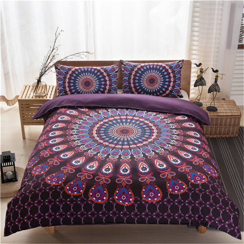 2017 New Arrival Bohemia Style Purple Color Best Quality Polyester/cotton  Material Duvet Cover Set