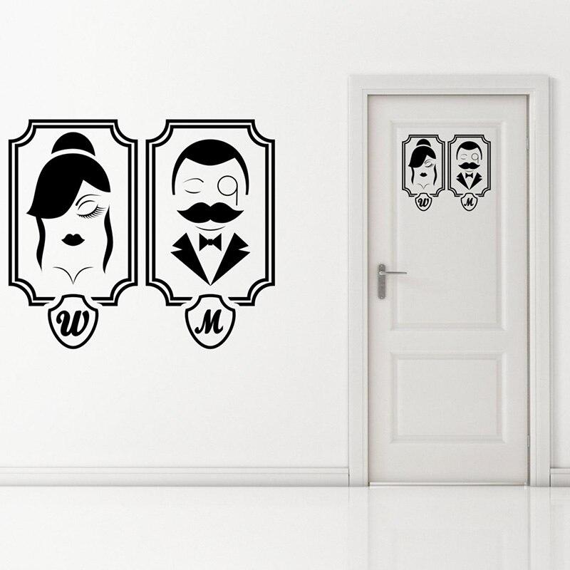 Gents & Ladies Pattern Vinyl Wall Art Sticker Toilet Bathroom Sign Removeable Decal Door Bedroom Decoration Poster YL004