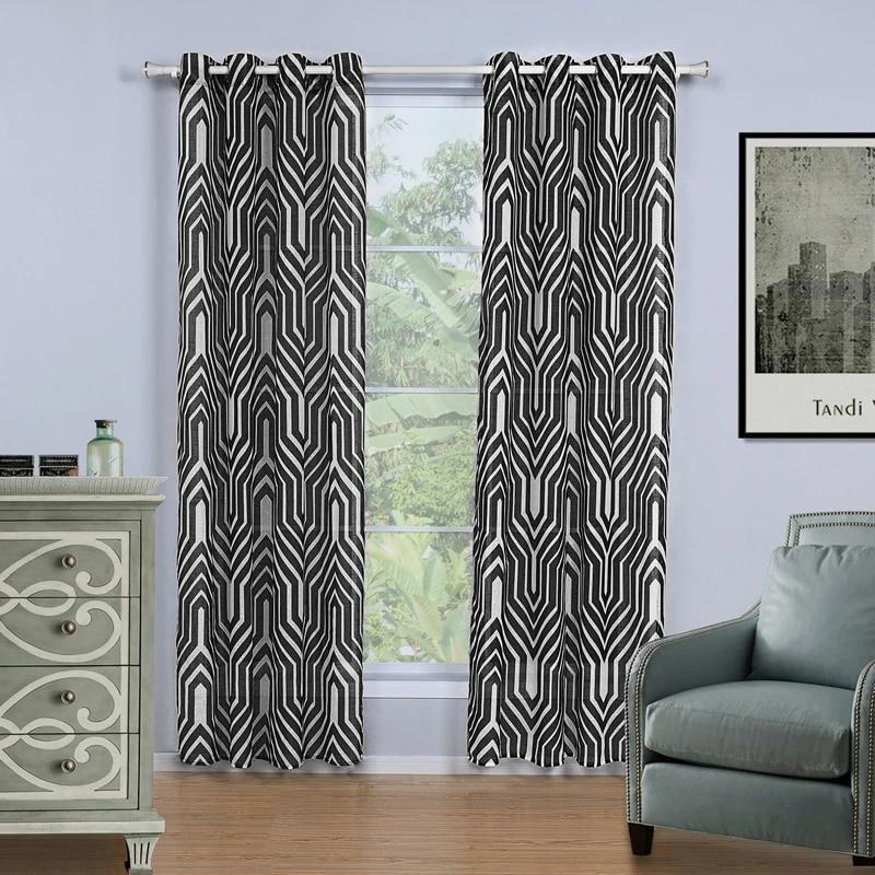 bbj rideau pour la decoration de la maison 7 tailles imprime noir raye rideaux grossier lin tissu blanc rideau pour salon 1 piece
