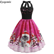 Vintage Dresses 2018 Casual Snowflake Women Robe 50S 60S Rockabilly Swing Pinup Vestido High Waist Cat Print Halter Party Dress(China)