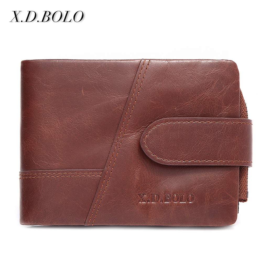 X.D.BOLO Wallets Men Wallet 100% leather Design Men Fashion Purse Card Holder Wallet Man Genuine Leather With Zipper Coin Pocket wolf head men wallets genuine leather wallet fashion design brand wallet leather man card holder purse