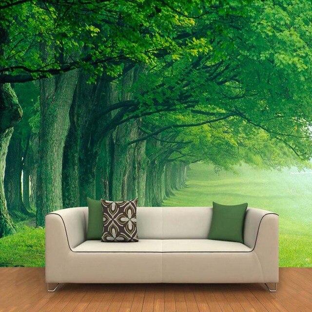 Groene Boom Foto Muurschildering Behang voor Woonkamer Slaapkamer ...