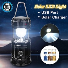 Portable Solar Camping Light Lantern LED Camping Light Retractable Solar Charge Built-in Battery USB Charge Flashlight Lantern new led flashlight lantern 2 in 1 portable small led lantern black blue red battery powered camping light flashlights for hiking