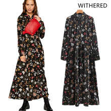 JennyandDave Withered 2018 feminina england style print floral straight  dress vestido 527b9cb2eeb9