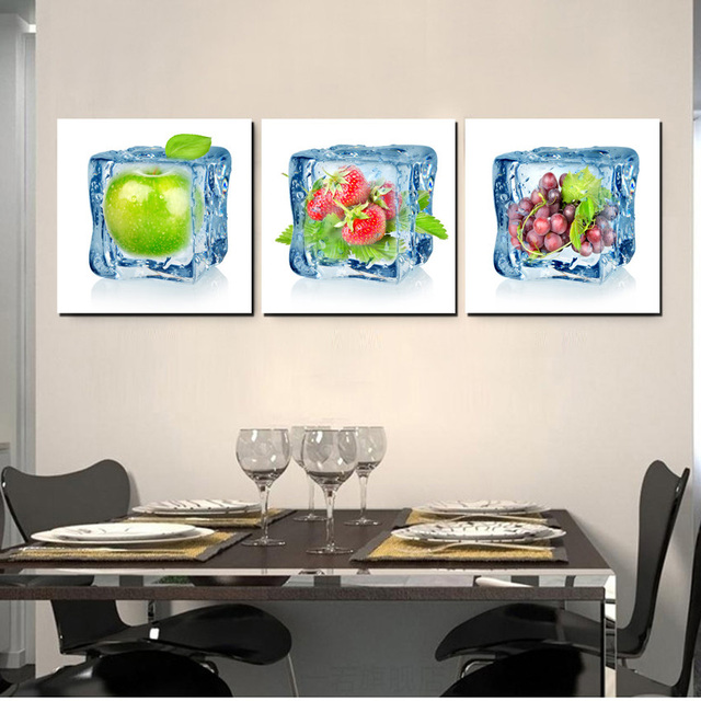 contemporary artwork living room rooms with red sofas ice fruits art decor canvas prints wall paintings for kitchen decoration 3 panels set no framed