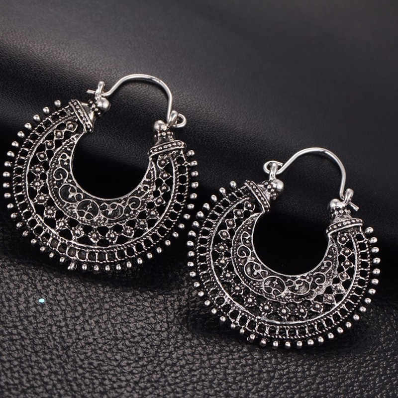 2019 Antique Perak BoHo Hollow-Out Gypsy Suku Indian Drop Anting-Anting untuk Wanita Mandala Bunga Anting-Anting Vintage Fashion Perhiasan