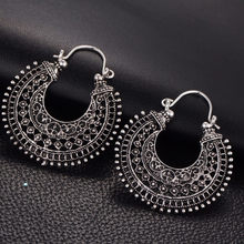 2019 Antique Silver Boho Hollow-out Gypsy Tribal Indian Drop Earrings for Women Mandala Flower Earrings Vintage Fashion Jewelry(China)