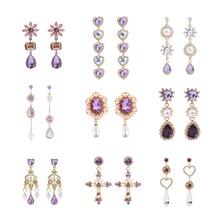 Korean Purple Rhinestone Love Heart Flower Dangle Earrings Long Water Drop Crystal Jewelry Pendientes For Women Fashion Brincos