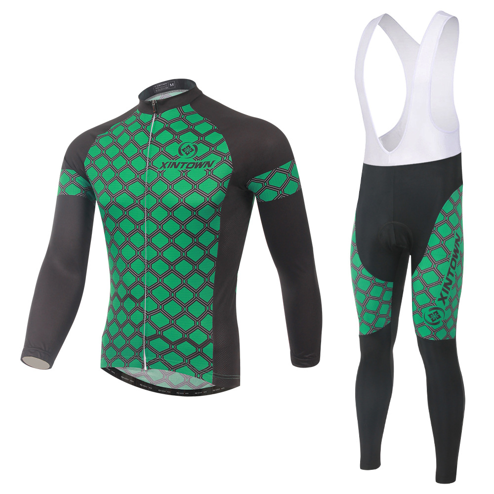 XINTOWN dim green bike riding jersey strap long-sleeved suit wear bicycle suits fleece wind warm functional underwear