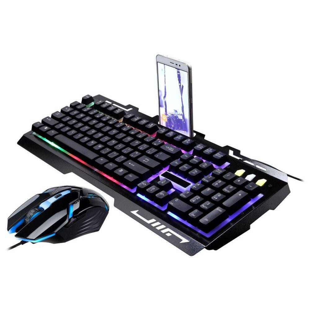 G700 Pc clavier Gamer LED arc en ciel couleur rétro-éclairage jeu de jeu USB filaire clavier souris jeu LOL