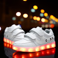 2016 Kids Sneakers Fashion USB Charging Lighted Colorful LED lights Shoes Casual Flat Girls Boy Shoes for children neon basket