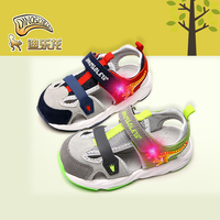 DINOSKULLS Summer Baby Sandals Dinosaur Glowing Children's First Walkers T rex Infant Little Kids Comfortable LED light Up Shoes