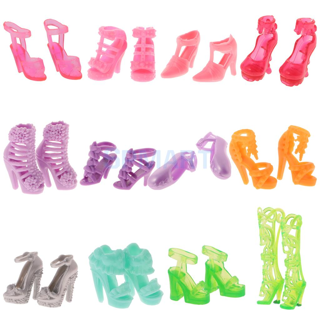 40 Pairs Different High Heel Shoes Boots For Doll Dresses Clothes Shoes